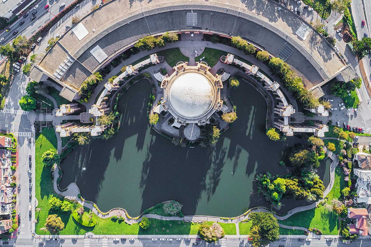 aerial view of palace of fine arts