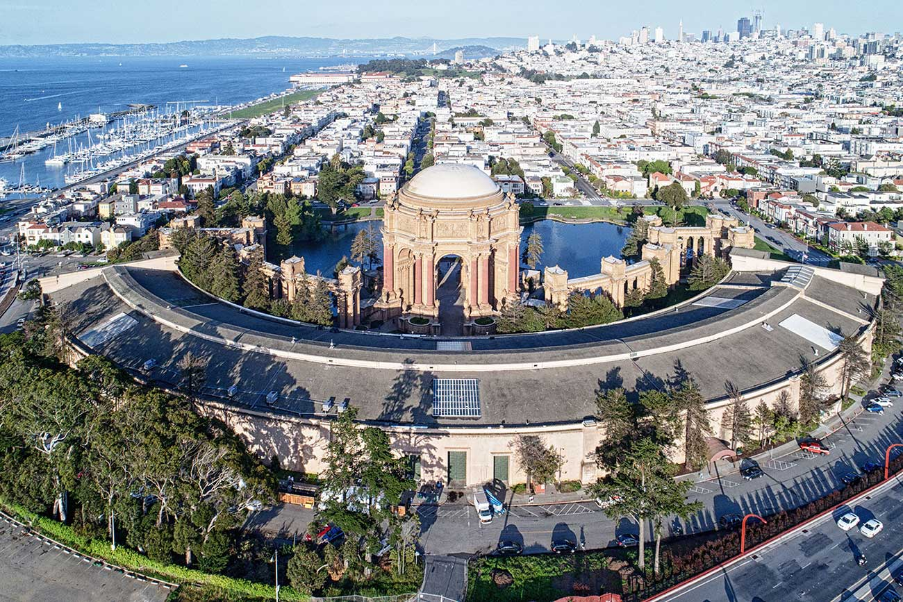 aerial view of palace of fine arts conference parking lot