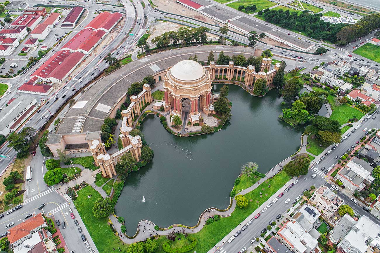 palace of the arts lake arial view